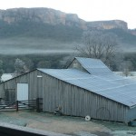 Early morning mist and frost at the woolshed.