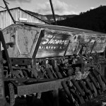 Old seeder at Woolshed Cabins